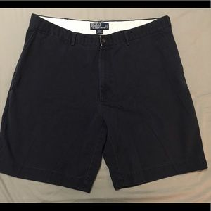 Navy Polo flat front shorts